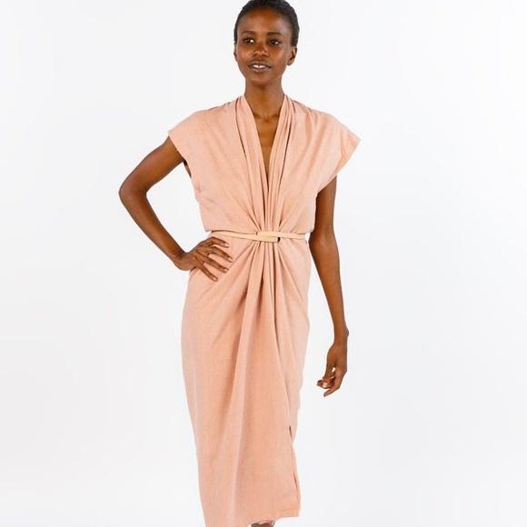 54a76d5ffc Miranda Bennett Knot Dress, Silk Noil in Nico. M_5b414904951996c5f3d1518b